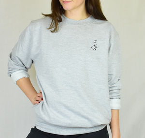 Origami Bunny Embroidered Ladies Jumper Sweatshirt - women's fashion
