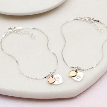 Personalised Gold And Sterling Silver Heart Bracelet