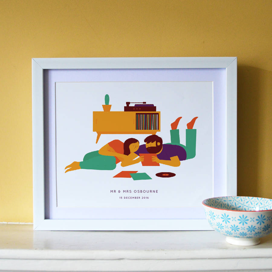 'Record Playing' Personalised Illustrated Print