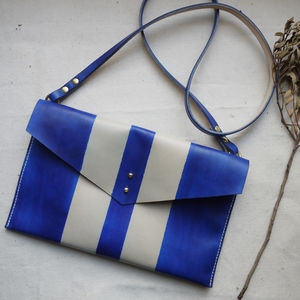 Leather Stripe Bag With Pocket - cross-body bags
