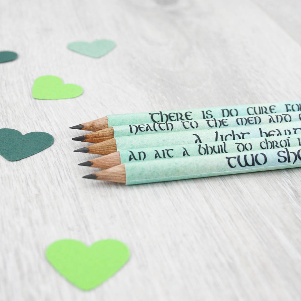 Irish Love Sayings Gift Pencil Set By Six0six Design