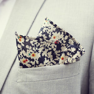 Mens Navy Floral Pocket Square
