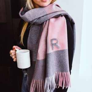 Personalised Brushed Check Blanket Scarf - sale