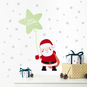 Merry Christmas Santa And Snow Stars Wall Stickers - children's room