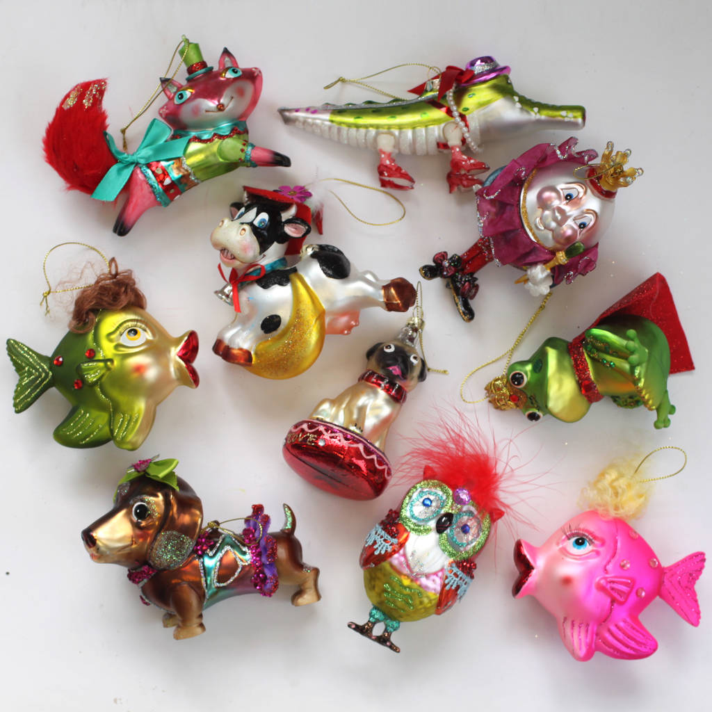 colourful kitsch pug glass christmas decoration