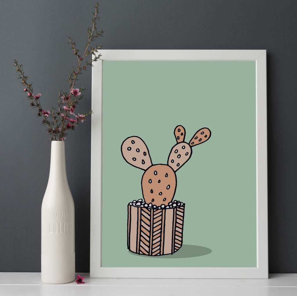 Cactus Print In Pastels
