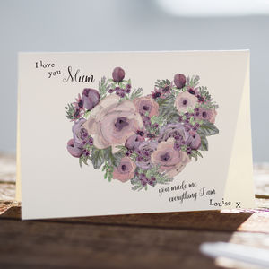 I Love You Mum Mothers Day Card With Lavender And Roses - sentimental cards