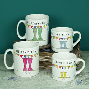 Personalised Set Of Welly Boot Family Mugs - gifts for him