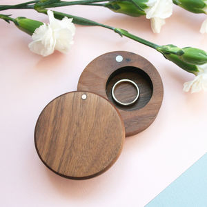 Walnut Wood Round Ring Box - jewellery storage & trinket boxes