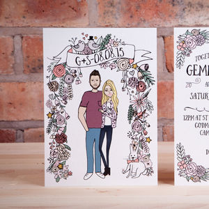 Illustrated Portrait Wedding Invitation - invitations