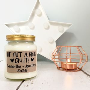Personalised 'He Put A Ring On It' Scented Soy Candle