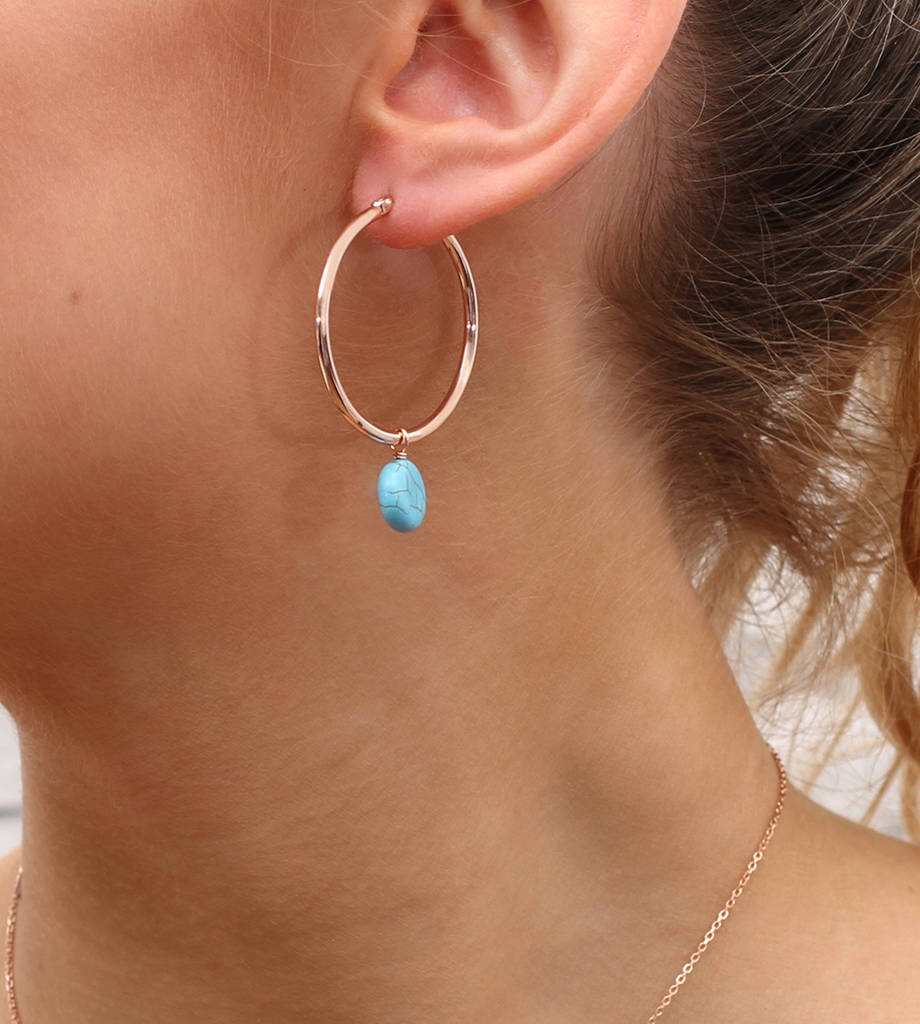 18ct Rose Gold And Turquoise Stone Hoop Earrings