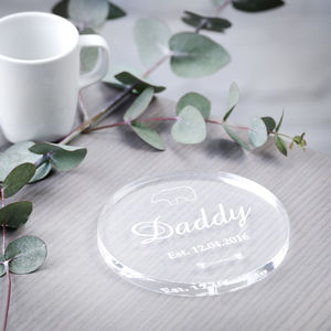 1st Father's Day Gift Daddy Bear Acrylic Drinks Coaster