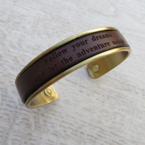 Personalised Bronze And Leather Cuff Bracelet
