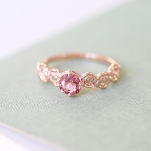 9ct Rose Gold Pink Spinel Floral Engagement Ring - rings