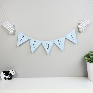 Personalised Triangle Bunting With Fabric Clouds - bunting & garlands