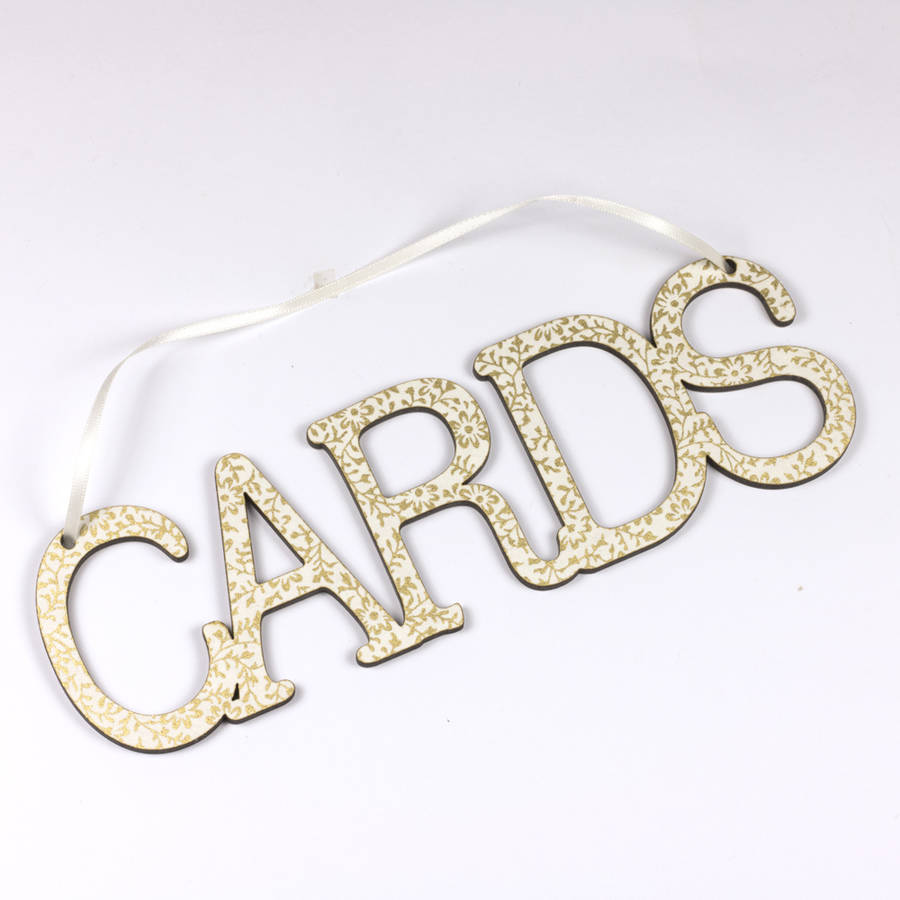 Cards Wedding Sign With Vintage Design