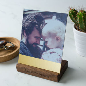 Personalised Brass And Walnut Desk Photo Block - picture frames