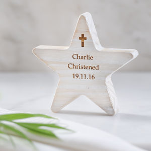 Personalised Christening Wooden Star With Cross - keepsakes