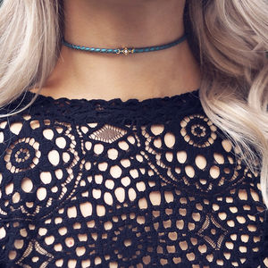 Camilla Cubic Zirconia Metallic Leather Choker - chokers