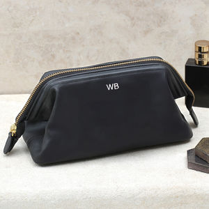 Personalised Initials Italian Leather Wash Bag
