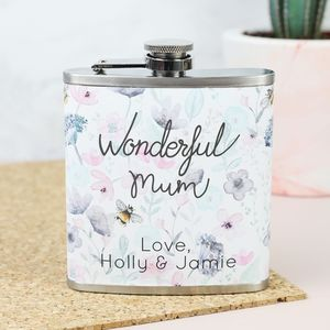 Personalised Stainless Steel 'Wonderful Mum' Hip Flask