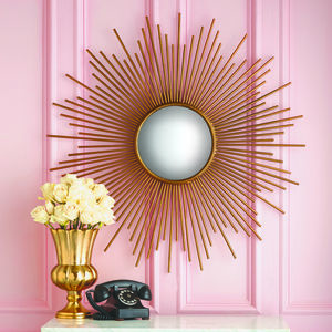 Large Gold Sunburst Wall Mirror - mirrors