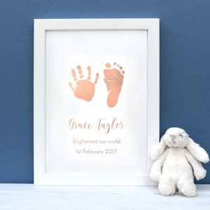 Personalised Child's Foil Handprint And Footprint Print