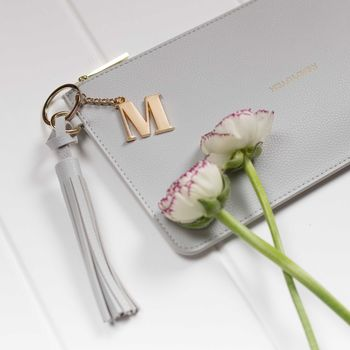Personalised 'Hello Lovely' Clutch In Dove Grey