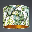 Green And White Tropical Print Drum Lampshade