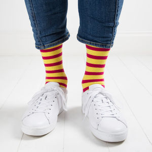 Pink And Yellow Striped Socks - men's fashion