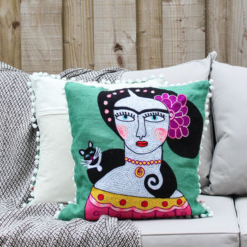 Frida Kahlo Black Cat Pom Pom Cushion