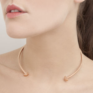 Rose Gold Semi Circle Disc Choker Necklace - necklaces & pendants
