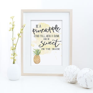 Be A Pineapple Typographic Print - typography