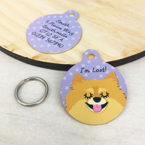 Pomeranian Personalised Dog ID Name Tag - pet tags & charms