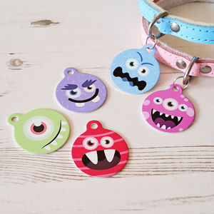 Personalised Monster Character Pet Tag Bauble Shaped - pet tags & charms