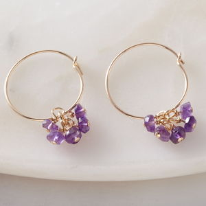 Amethyst Gold Hoop Earrings - earrings