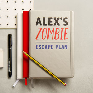 Personalised Zombie Escape Plan Notebook - gifts for him