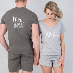 Hubby And Wifey Personalised Pyjama Set - lingerie & nightwear