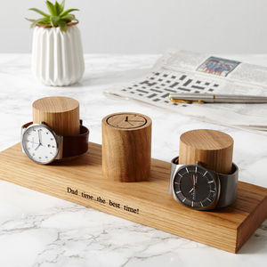 Oak Watch Stand For Three, Four Or Five Watches - gifts for fathers