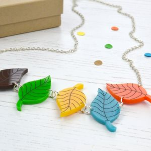 Acrylic Leaves Necklace - necklaces & pendants