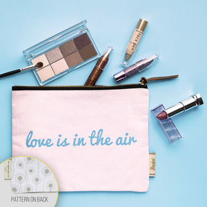 Make Up Bag With Slogan And Pattern 'Love Is In…'
