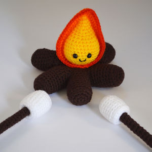 Crocheted Amigurumi Campfire And Toasting Marshmallows - pretend play & dressing up