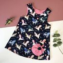 Handmade Girls Navy Unicorn Dress