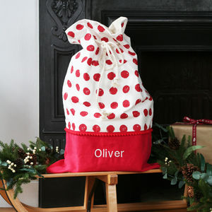 Luxury Personalised Red Spots Christmas Santa Sack