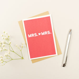 Mrs And Mrs Same Sex Wedding Card - wedding cards