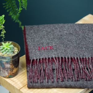 Monogrammed Deep Thistle Wool Scarf - gifts for him