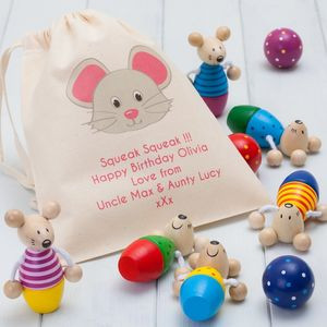 Childrens Mice Skittles And Personalised Bag - traditional toys & games