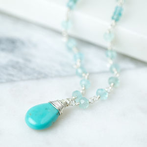 Turquoise Long Chain Drop Necklace