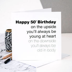 50th Birthday Card For Men 'Young At Heart' - birthday cards